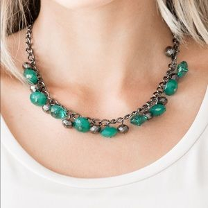 Runway Rebel green bead gunmetal necklace